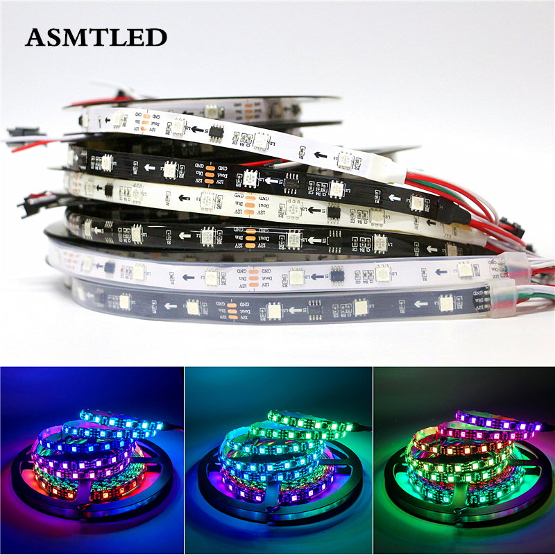 0.5m 1m 2m 3m 4m 5m Full Color WS2811 LED Strip DC12V Black / White PCB 5050 RGB Smart IC Pixel Control WS2812B Led Strip Light 1m 2m 5m 30cm 4 pin rgb led connector extension cable cord wire with 4pin connector for rgb led strip light free shipping