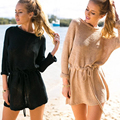 US 4-16 Oversize Boho Hipster Fall Knit Sweater Mini Dress Pullover with Belt Autumn Sweater Pullover Dress