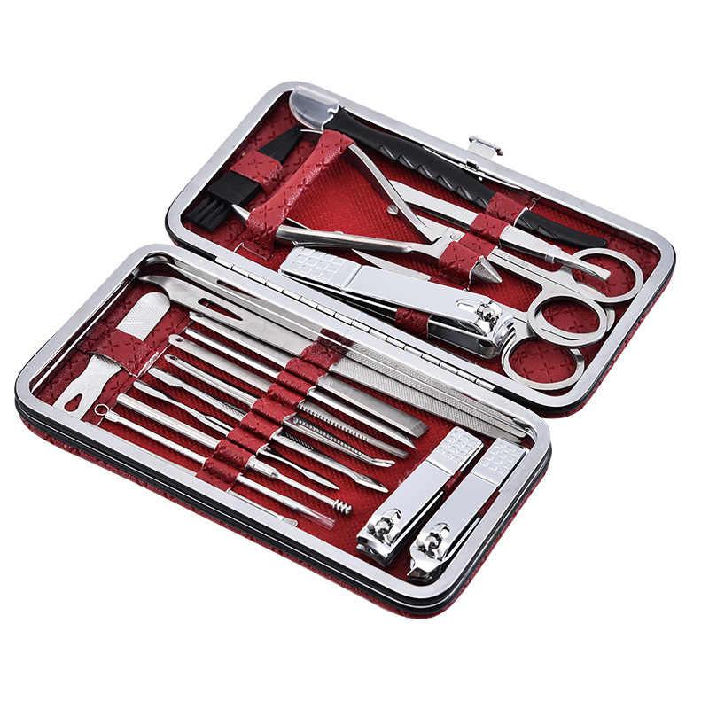 20 stks/set Multifunctionele Rvs Nail Trimmen Tool Nagelknipper Set Schoonheid Schaar Manicure Pedicure Nagelknipper Kit