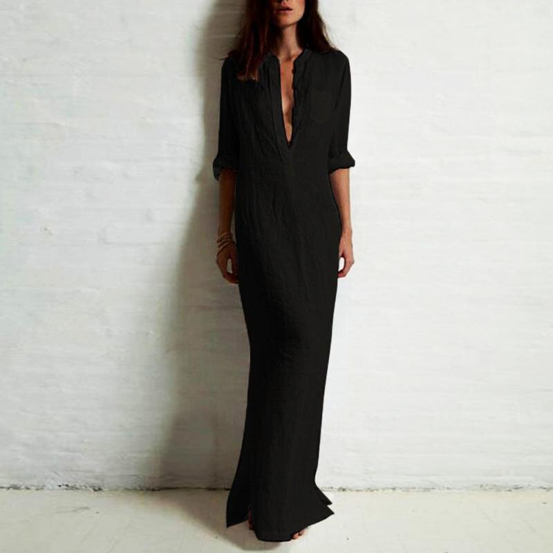5XL Plus tamaño Vestidos de Otoño de 2018 de las mujeres de la moda Casual Sexy vestido de Camisa larga de manga larga con cuello en V profundo dividir sólido vestido Maxi