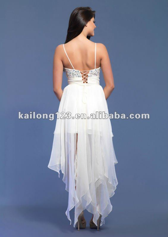 Cute Spaghetti Strap Beaded Sequins High Low White Party Dress