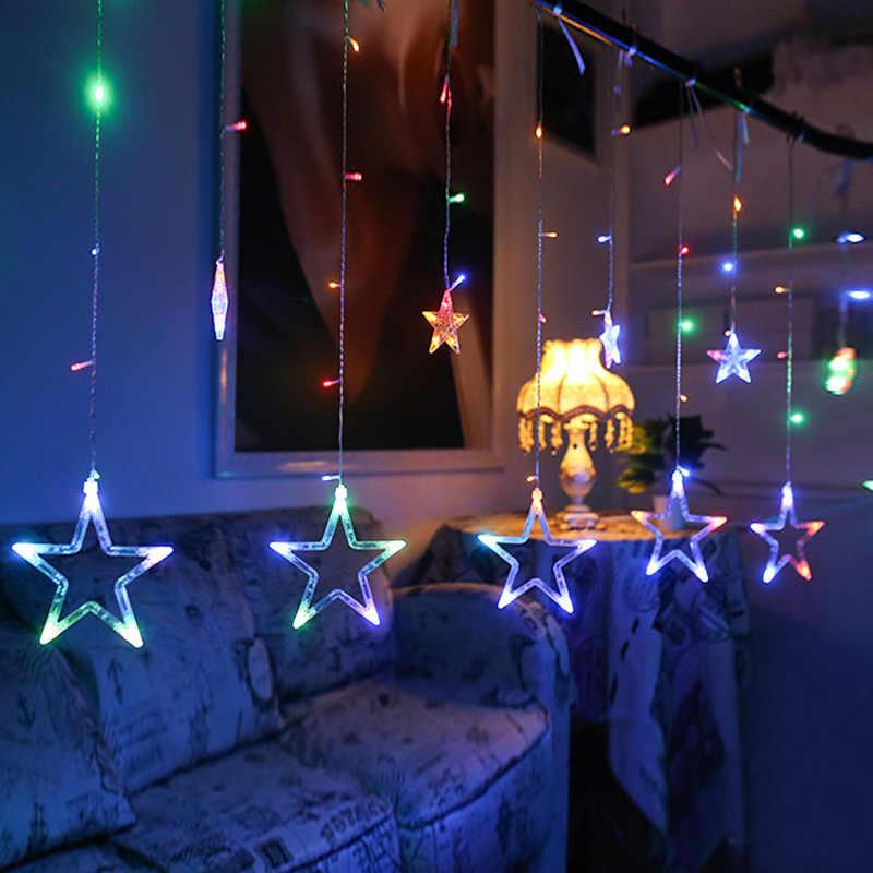4 метра x60 + 100 см романтическая сказочная звезда светодиодная гирлянда для занавесок теплый белый EU220V Рождественская гирлянда свет для свадебной вечеринки праздник Dec