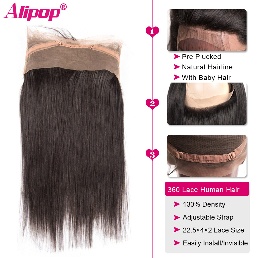 360 Lace Frontal Closure Brazilian Straight Hair Pre Plucked 10-24 Inch Remy Human Hair Free Middle Part 360 lace Closure ALIPOP (6)