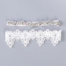 Liga do casamento de Strass Bordado Flor Beading branco Ligas Sensuais para As Mulheres/Feminino/Noiva Anel Nupcial Leg Garter Coxa