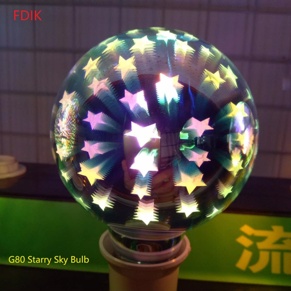 220V 3D Starry Sky Bulb E27 LED lamp ST64 G80 G95 G125 4W For Holiday Christmas Decor Bar Bombillas LED Dream Coloured lights цена