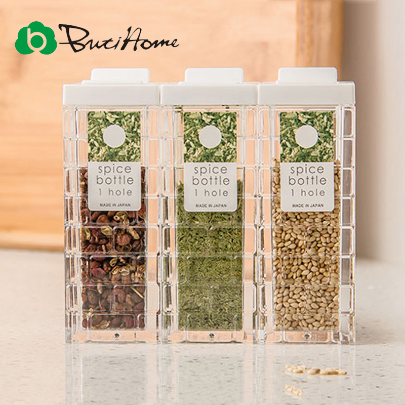 Butihome 1 PC Plastic Spice Jar Kitchen Seal And Transparent Seasoning Bottle Salt And Pepper Spray Shaker Spice Food Container
