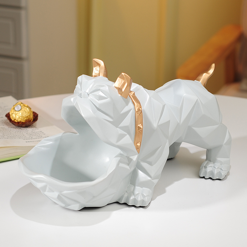 creative resin geometric Bulldog statue Storage Box home decor crafts room decoration vintage parlor dog ornament resin figurine in Statues Sculptures from Home Garden