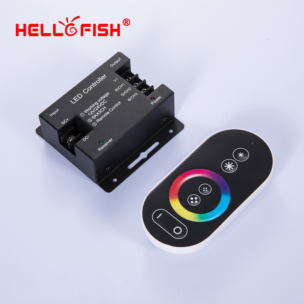 12v Led Controller Rgb Led Strip Controller Touch Remote Control Rf Wireless 12v 24v 18a Led Driver Hello Fish