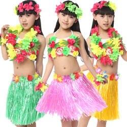 Бесплатная доставка Хэллоуин карнавальные костюмы для девочек Детская Гавайская Юбка Хула Бальные Belly Одежда для танцев