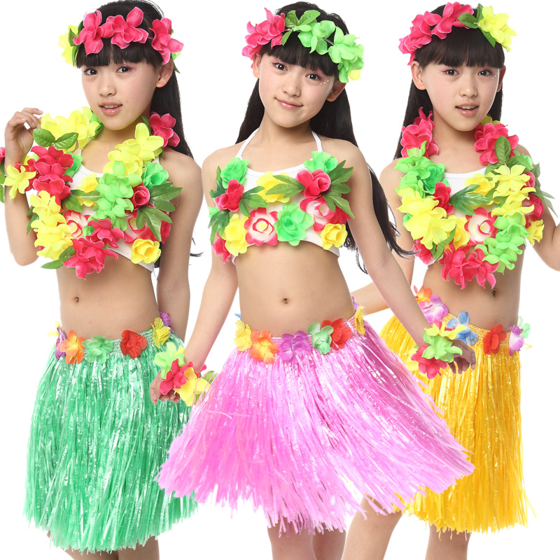 Free Shipping Halloween Carnival Fancy Dress Costumes for Kids Girls Children Hawaiian Hula Skirt Ballroom Belly Dancing Clothes