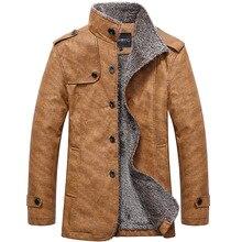 цена Leather jacket winter men's lapel long leather jacket large size S-XXXL men's windbreaker plus velvet warm PU leather jacket онлайн в 2017 году