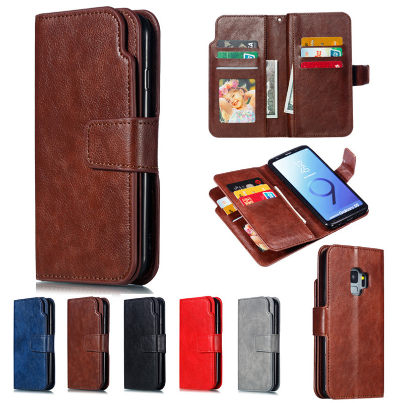 Leather wallet phone case for Samsung S7 S7 Edge S8 S9 plus Note 8 9 mobile phone panel bracket bank card photo framep slot flipLeather wallet phone case for Samsung S7 S7 Edge S8 S9 plus Note 8 9 mobile phone panel bracket bank card photo framep slot flip