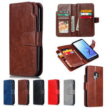 Leather wallet phone case for Samsung S7 S7 Edge S8 S9 plus Note 8 9 mobile phone panel bracket bank card photo framep slot flip