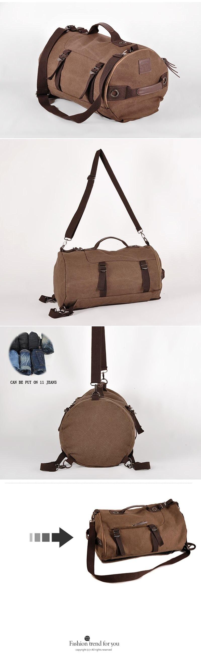 Men's Multi-Functional Backpack Vintage Shoulder Bag High Quality Canvas Male Bagpack Rucksack Travel Luggage for Weekend 34