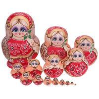 15 PCS/10 pcs Boneca Matryoshka De Madeira De Madeira Do Assentamento Do Russo Dolls Matreshka Handmade Artesanato de Presente para o Miúdo presentes de mesa jogo