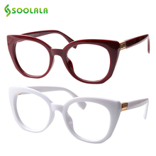 SOOLALA Square Cat Eye Reading Glasses Women Men Presbyopic Eyeglass Frame Clear Lens Cateye 0.5 to 5.0 W/ Cases