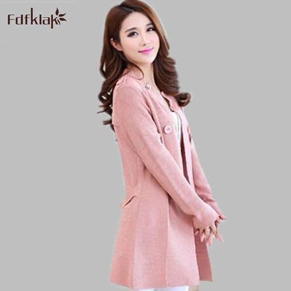 2017 Spring Autumn Sweater Women Elegant Long Sleeve Knitted Wool Cardigan  Coat Ladies Plus Size Sweaters c870fcaeb