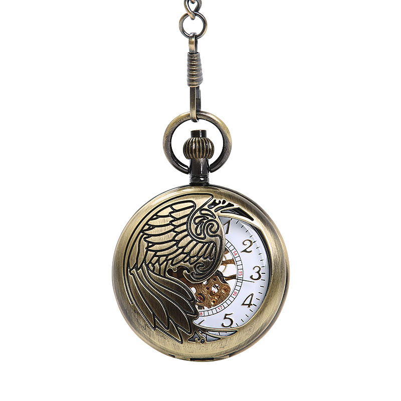 Large Hollow Out Exquisite Eagle Totem Pocket Watch White Hollow Out Gold Digital Mechanical Pocket Watch