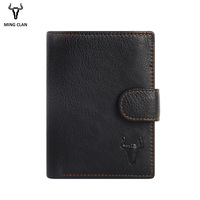2019 Leather Men Wallets With 2 ID Windows And Coin Pocket Card Wallet for Men Authentic Leather Wallets Men Money Bag