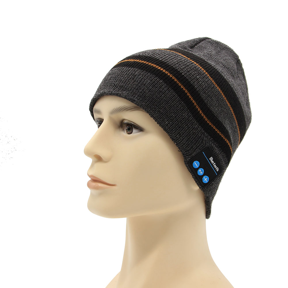 Winter New Hot Selling Fashion Cool Striped Wireless Bluetooth Music Knit Hat with Handsfree Smart Headset Music Hat