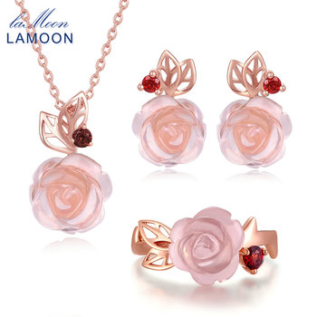 LAMOON Real 925 Sterling Silver Flower Rose Jewelry Sets Natural Pink Rose Quartz 18K Rose Gold Plated Fine Jewelry Set V033-1