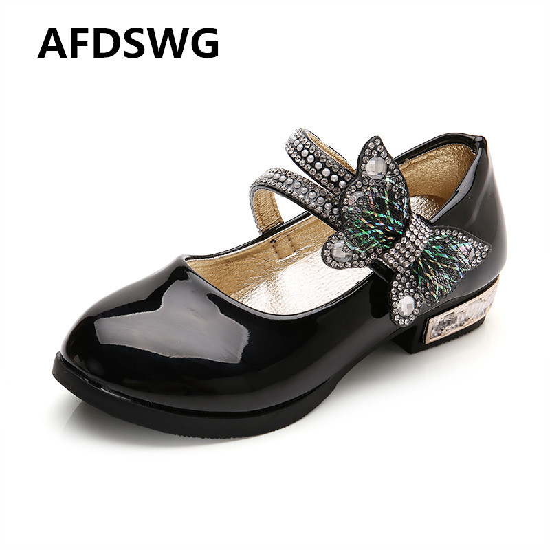 AFDSW spring and autumn fashion bow low-heeled shoes with soft bottom black shoes for girls leather shoes kids