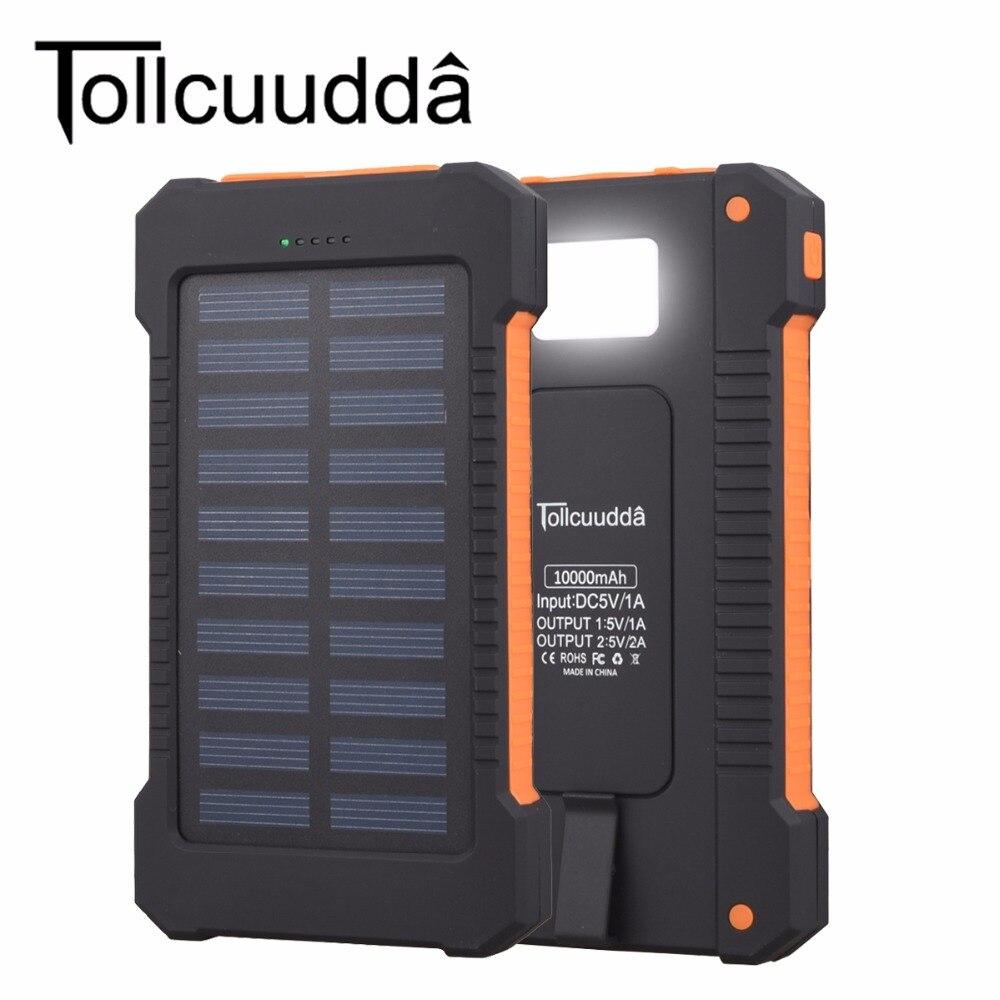 bilder für Tollcuudda 10000 mAH Solarzelle Power Pover Bank Für Iphone 6 S 7 Mp3 Universelle Externe Tragbare Ladegerät Batterie Mit LED-Licht