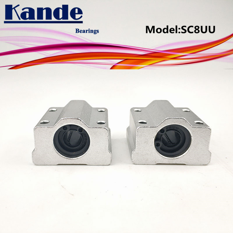 Kande Bearings  2pcs SC8UU SC8 UU Linear Motion Ball Bearing Slide Block Bushing For 8mm SC8 SC
