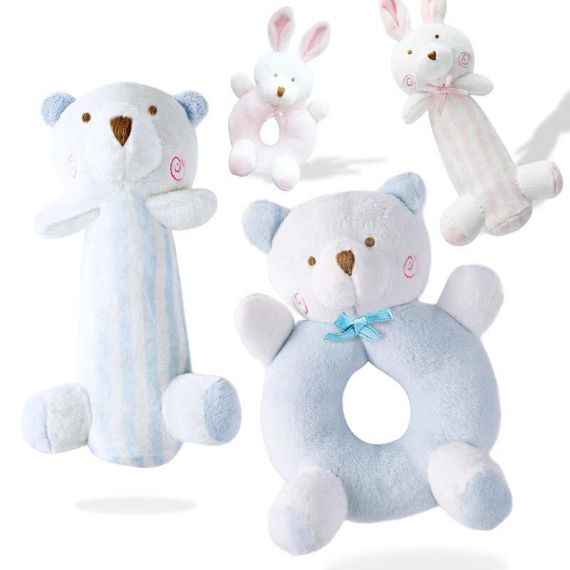 Newborn Cartoon Baby Boy Girl Rattles Infant Animal Hand Bell Kid Plush Toy font b Development