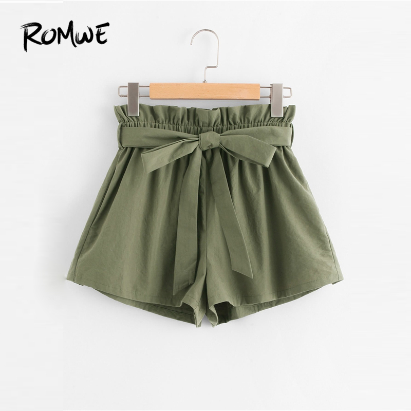ROMWE Ruffle Waist Self Belt   Shorts   2019 Streetwear Army Green Women Summer   Shorts   Fashion High Waist Wide Leg   Shorts   Trousers