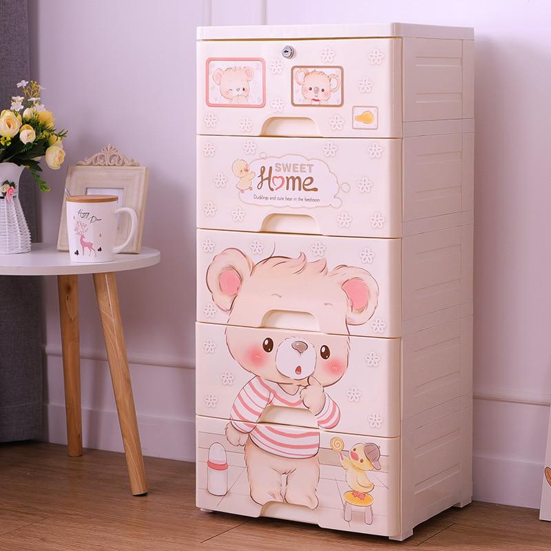 Armoire enfant Type de tiroir dessin animé enfant Simple armoire jouet finition armoire plastique boite de rangement boite plastique