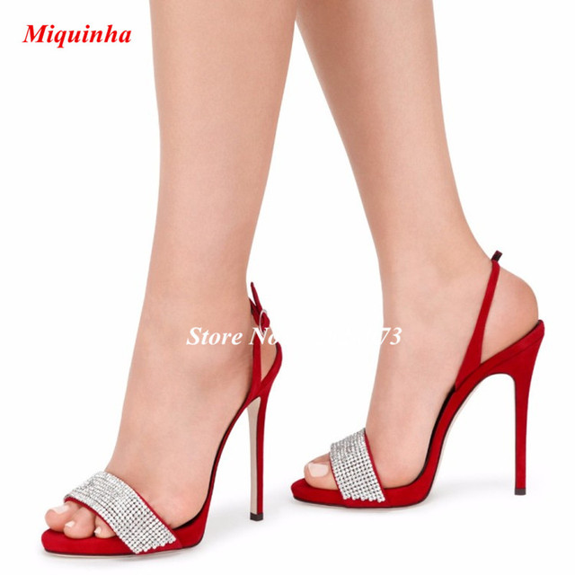 c59eccea5ff938 Elegant One Strap Red Black Silver Sandals Women Stiletto Heels Summer Women s  Shoes Open Toe High Heels Pumps Dress Shoes