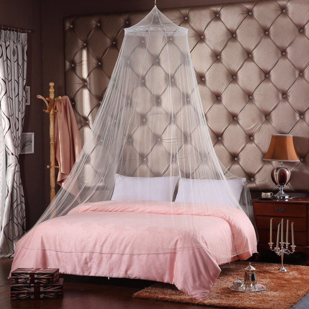 Princess Net White Mosquito Net Elegant Lace Dome Canopy Insect Protection Fabric Mesh one Door Curtain Decor Bed Tent 2018