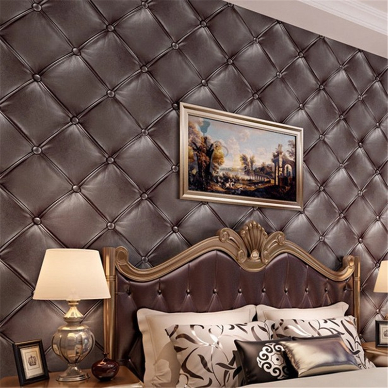 ФОТО beibehang European - style three - dimensional simulation skin soft package wallpaper living room TV background wallpaper