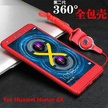Закаленное стекло + PC Жесткий Матовая Чехлы для Huawei Honor 6X случае 5.5 «360 градусов Full пластиковую крышку телефона Чехол для Huawei Honor 6×6 x