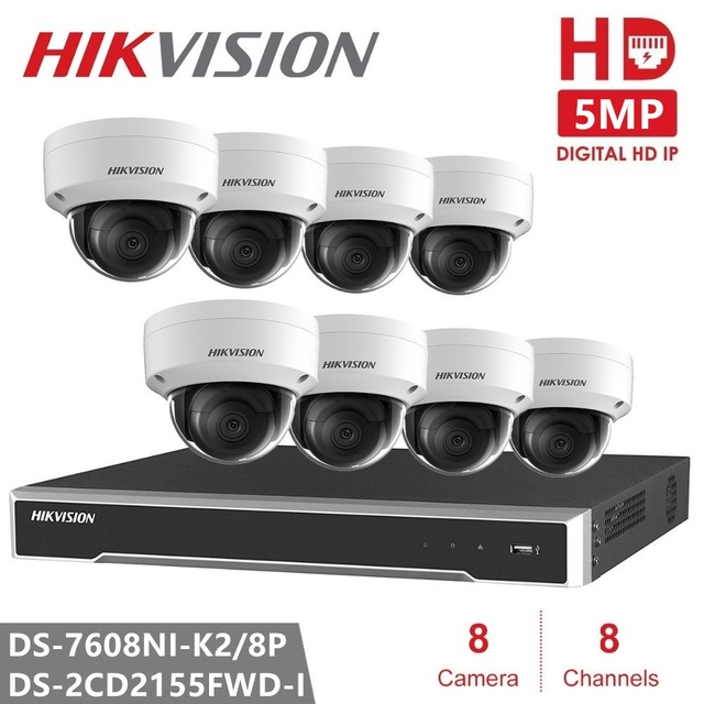 Hikvision 8CH CCTV Surveillance Kit 5MP Security Camera System 8CH POE NVR Max 4K Output 8Pcs 5MP POE IP Camera CCTV Waterproof