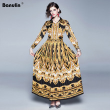 Banulin 2019 Spring Autumn Women Baroque Dress Long Sleeve Black Gold Totem Print Big Swing Floral Maxi Runway