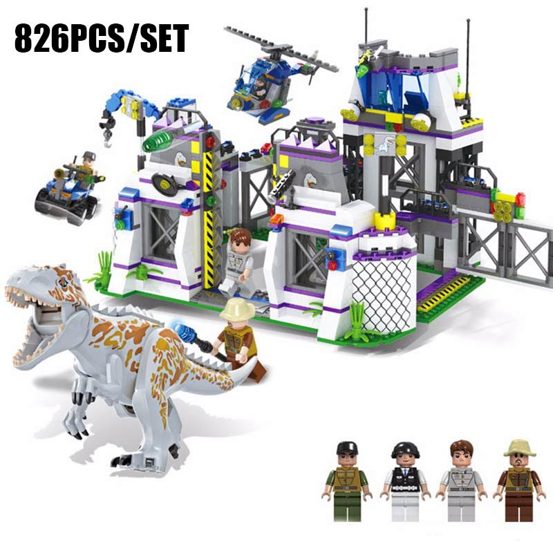 826PCS Jurassic Dinosaur Indominus T-Rex Breakout Spinosaurus Tyrannosaurus Rex Model Building Blocks Brick Toy Kids Gift oenux prehistoric jurassic tyrannosaurus rex spinosaurus t rex dinossauro world model savage dinosaurs action figure toy for kid