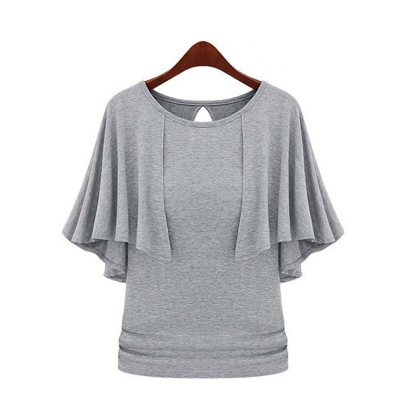 Oxiuly New Summer Solid Fashion Cloak O-Neck Women Cotton Blend Slimming Stretchy Tops Loose Casual T-Shirt Plus Size M-5XL 3