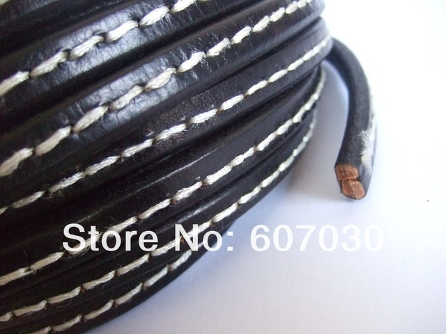 Black Genuine Stitched White Licorice Leather Jewelry Bracelet Cord 10x6mm