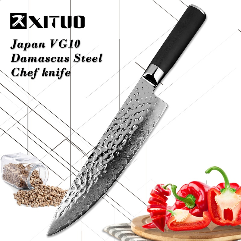XITUO Newest damascus steel 8 inch chef knife Forging blade High hardness sharp 71 layers VG10