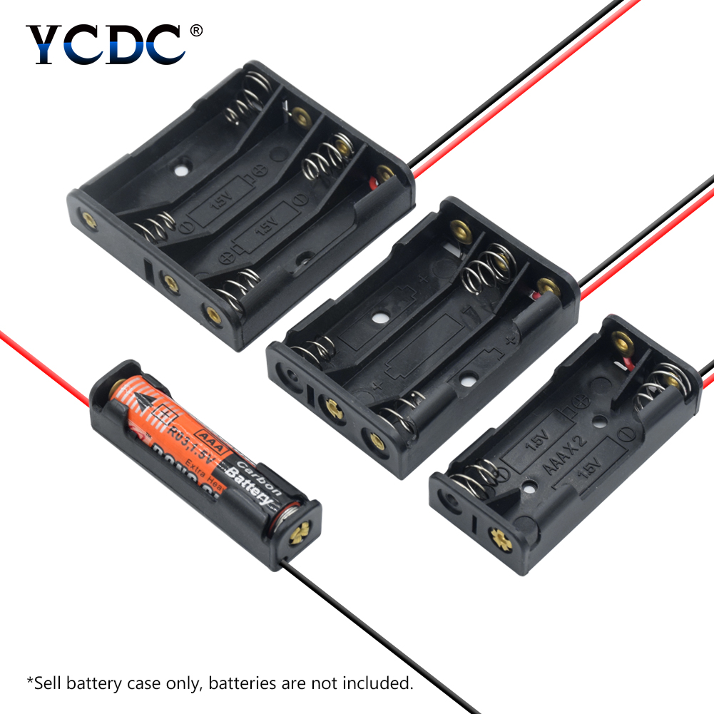 1x 2x 3x 4x AAA Battery Box Case Holder With Wire Leads Side By Side Battery Box Connecting Solder For 1-4pcs AAA Batteries