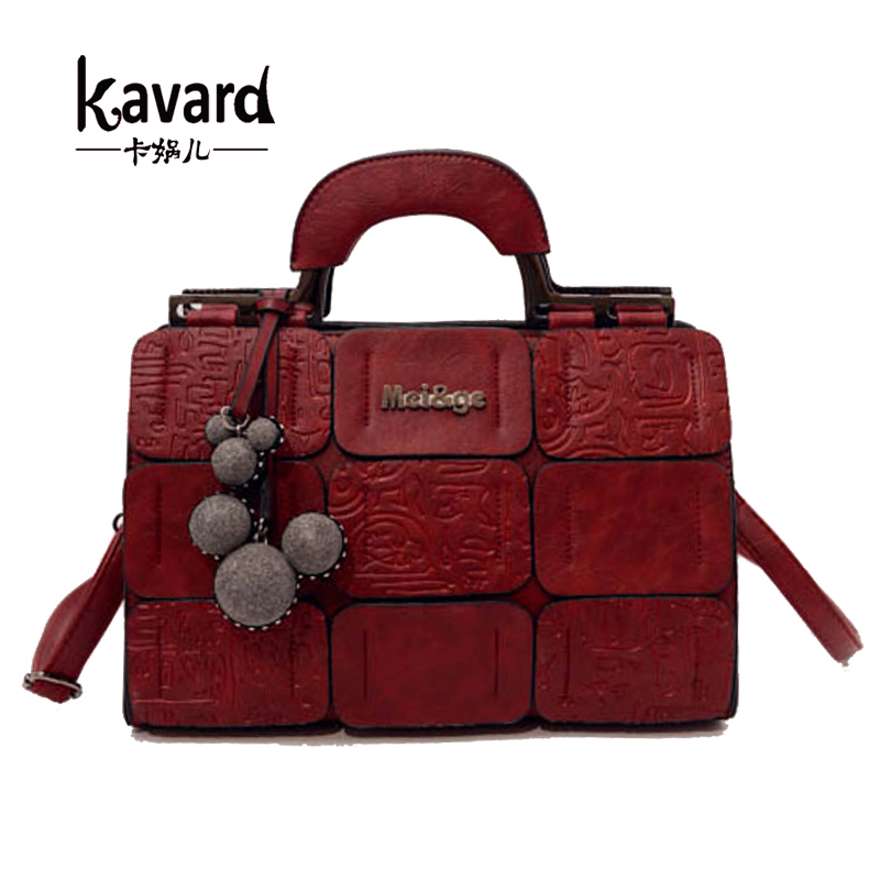 ФОТО Kavard Patchwork bag ladies hand bag luxury women PU leather handbag 2017 woman bags handbag women famous brand sac a main femme