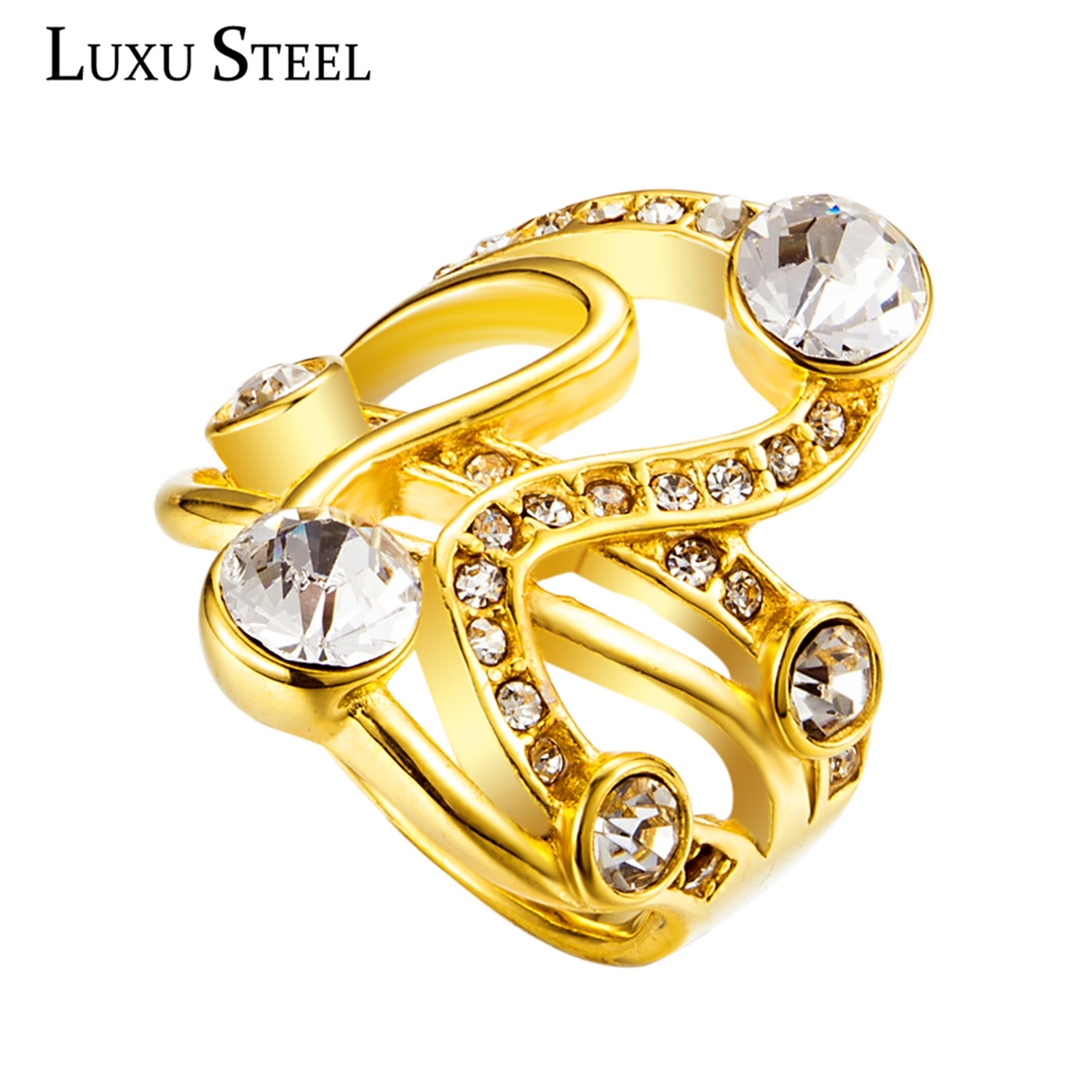 New Arrival Irregular Shape With Cubic Zircon Crystal Hollow Gold Color  Party Extravagant Rings For Women