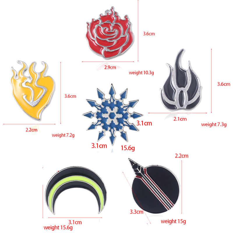 SG Hot Jepang Permainan Bros Rose Kepingan Salju Bulan Api Enamel Pin Lencana untuk Anak Wanita Pria Penggemar Kemeja Mantel perhiasan Hadiah