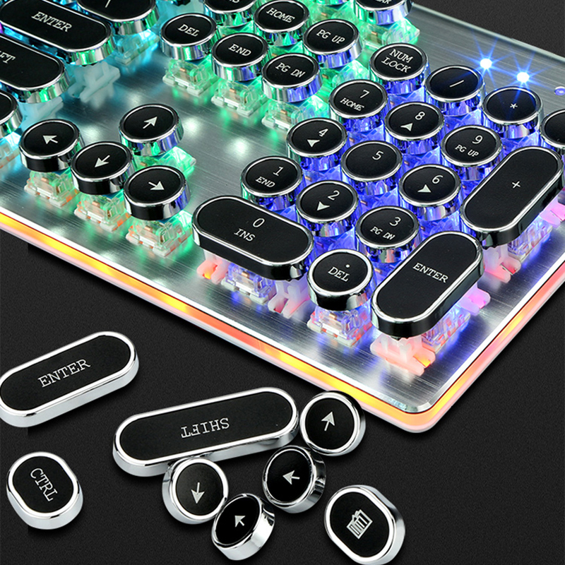 QWERTY STEAMPUNK Retro Mechanical keyboard USB Wired Rainbow Typewriter Gaming Led Backlit Keyboard for Computer Desk Gamer 5
