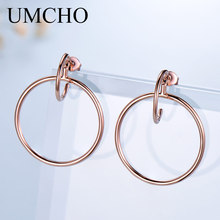 UMCHO Real Solid 925 Sterling Silver Earrings Geometric Simp