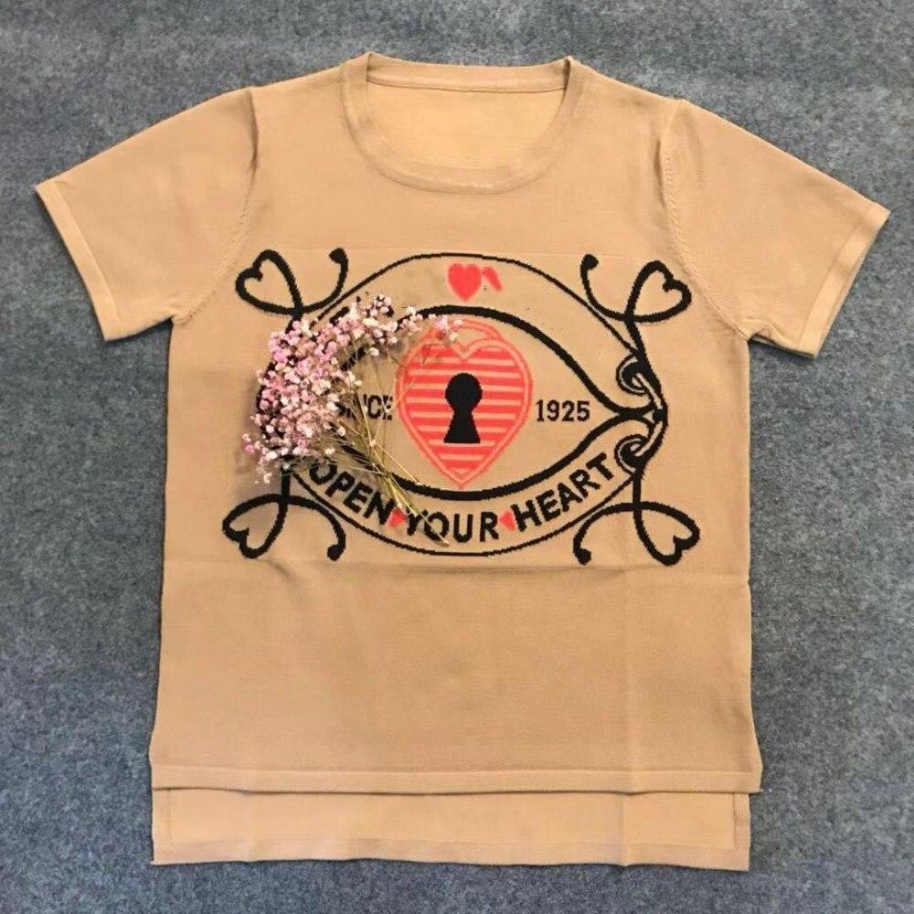 Haute qualité 2019 début de l'été serrures irrégulière à manches courtes courtes t-shirt femmes tricot femme t-shirt