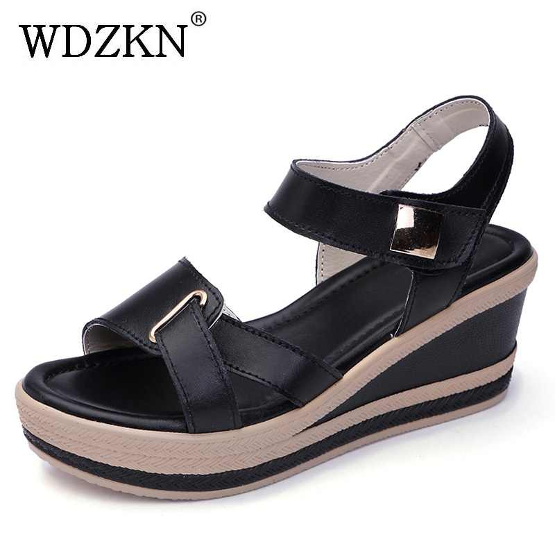 2e49d0122b WDZKN Summer Split Leather Open Toe Wedge Heel Gladiator Sandals Women High  Heel Casual Shoes Fashion