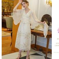 Women Summer Vintage Antique Cotton Dresses Ladies Retro Elegant Slim Limited Edition Autumn Mori Girls Flower Embroidery Dress